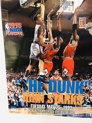 1993 NBA PLAYOFF The Dunk: John Starks Dunks on Michael Jordan 16x20 Poster