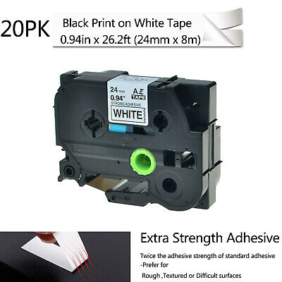 """20PK 0.94"""" Extra Adhesive Black on White Label For Brother TZe TZ S251 251 Tape"""
