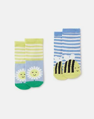 Joules Baby Girls Neat Feet 2 Pack Character Socks - MULTI DAISY BEE