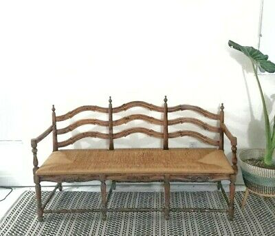 Antique Vintage French Country Provincial Ladder Back Settee Bench Rush Seat