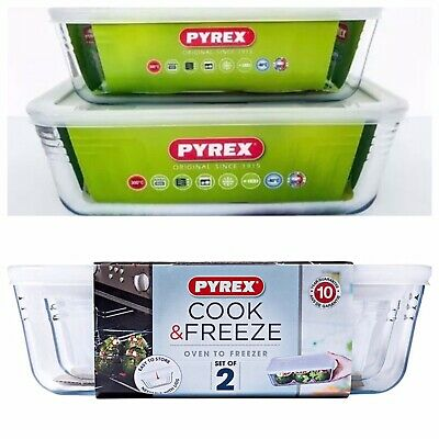 Pyrex Glass Food Container Bowl 2-Piece Storable Set Baking Freezing Microwave