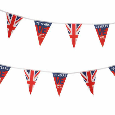 16 Flags 5M V E DAY 8TH MAY Bunting Union Jack  Great Britain 75th Anniversary