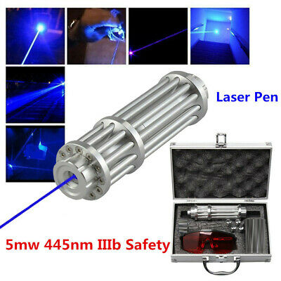 5 MW 445nm Blue Laser Pen Pointer Stern Militar Burning Focus Beam Light 7.4V