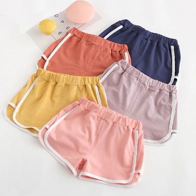 Girls Summer Short Pants Childrens Plain Color Elastic Waist Beach Summer Bottom