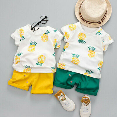 Toddler Baby Kids Boys Pineapple Printed T-shirt Tops Shorts 2 Pieces Outfits UK