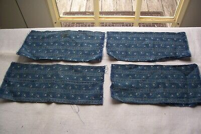 Vtg Antique Cadet Blue QUILT DRESS FABRIC Scraps 1800's  DOlls Crafts