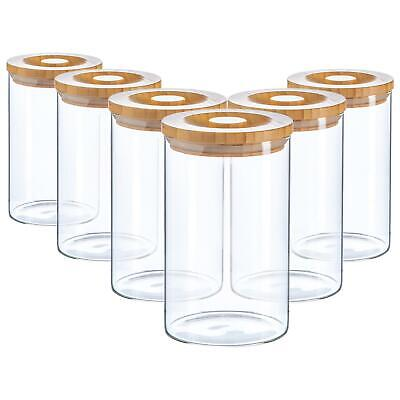 6pc Glass Jar With Wooden Lid Storage Container Airtight 1020ml
