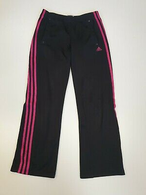 Gg836 Girls Adidas Black Pink Striped Tracksuit Bottoms Age 13-14 Years W28 L29