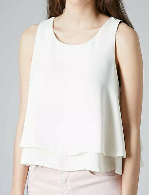 Women's Ladies Girls Topshop White Cream Vest Top Natural Double Layer Shell 6