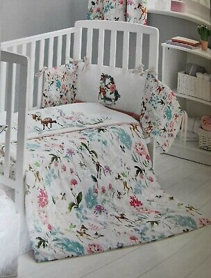 Cot Bed Bumper Baby Girl Disney Bambi Breathable Cotton Pink Safety Bumper