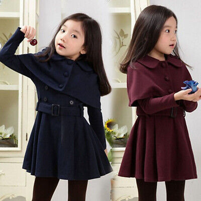2 Pcs Girls Kids Long Sleeve Casual Dress Jacket Trench Coat Outerwear Age 4-15