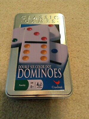 Cardinal Classic Games Double Six Color Dot Dominoes Game RARELY USED