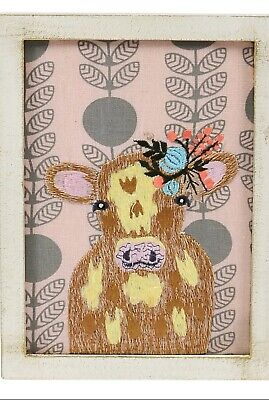 Cow Embroidered Wall Art New In Box Handmade Cotton