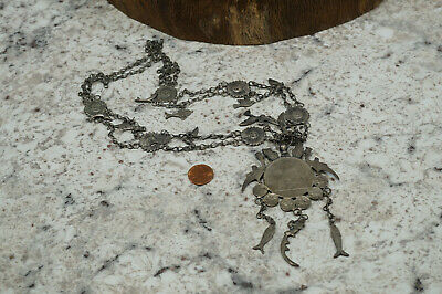 """Antique Silver """"1894"""" Guatemala Early Sand Cast Jewelry Coin Necklace 94 Grams"""