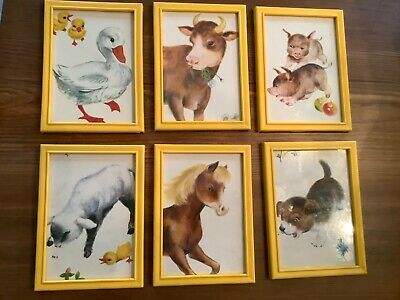 6 Vintage Framed Prints Farm Animals 60's Child's Room Nursery