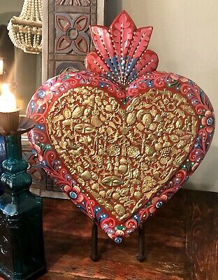 XLG MILAGROS HEART, Sacred Heart with Charms, Mexican Folk Art