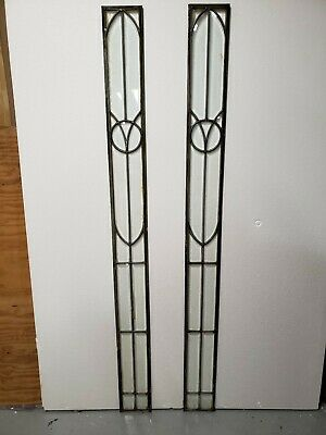 Antique American Fully Beveled Glass  Window Pair Architectural Salvage