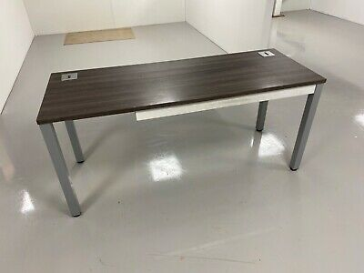 Office desk modern grey wood effect, metal legs with cable holes
