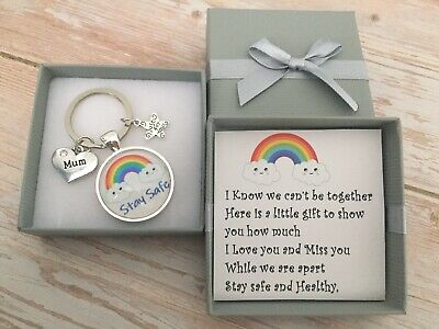 Stay Safe and Healthy Missing You Rainbow Keyring Gift Mum Dad Grandma Nan  🌈
