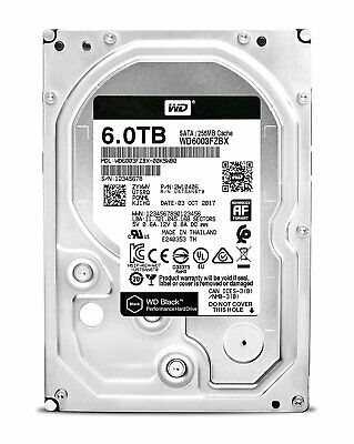 "Western Digital WD Black 3.5"" 6TB SATA Internal Hard Drive HDD 256MB 7200RPM"