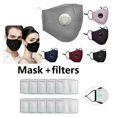 PM2.5 Reusable Washable Anti Haze Fog Respirator Face Mask Cover +Carbon Filters