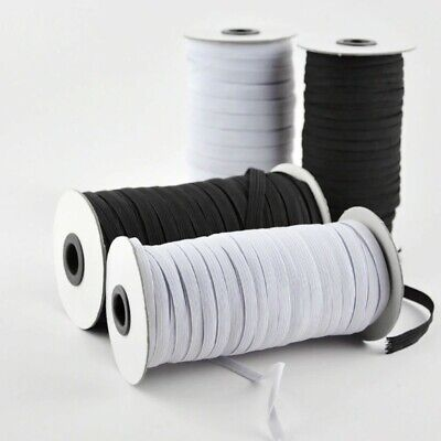 "Flat Braided Elastic Band Roll 1/8"" (3mm) width White/ Black 120 Yards Roll"
