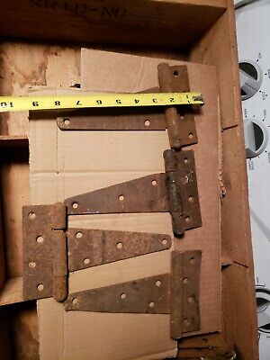 "4 VINTAGE 8"" Barn Door  T STRAP HINGES  gate Rusty rustic salvage shed"