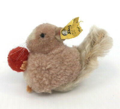 Steiff Woolen Squirrel with Nut Mohair Plush Tail 5cm 2in ID Button Tag 1960s Vt