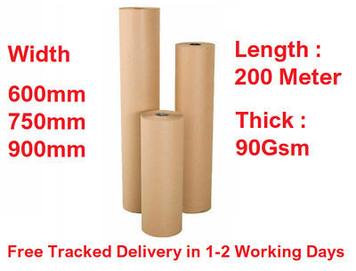 Brown Kraft Paper Roll Parcel Wrapping 200 Meter Long 90Gsm Thick Various Size