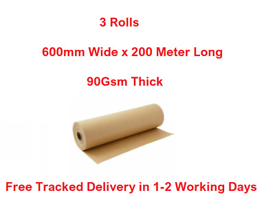 3 X Brown Kraft Paper Roll Parcel Wrapping 600mm X 200 Meter Length 90Gsm Thick