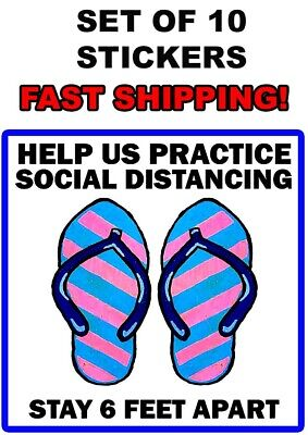 Maintain Social Distance VINYL Floor/Wall  Sign STICKER-Decal 10 Signs 8 In NEW