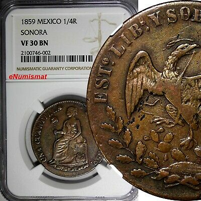 MEXICO Copper 1859 1/4 Real SONORA 32 mm NGC VF30 BN TOP GRADED BY NGC KM# 365