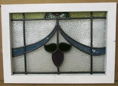 "OLD ENGLISH LEADED STAINED GLASS WINDOW Pretty Sweep Design 20.75"" x 14.75"""