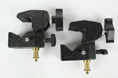 1 Pair of Bogen Manfrotto # 035 Super Clamp w/ Stud, Made in Italy