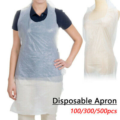 Pack of 100 DISPOSABLE PLAIN WHITE POLYTHENE STRONG PLASTIC APRONS UK Stock