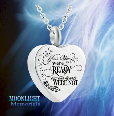 New Your wings were ready our Heart not Urn Ashes Cremation Memorial Necklace
