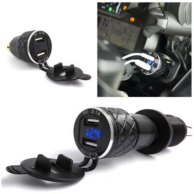 Motorcycle Dual USB Charger Cigarette Lighter Adapter Voltage Display For BMW