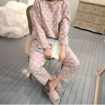 Women 2PCS Pajama Set Cotton Polka Dots Sleepwear Spring Long Sleeve Nightwear