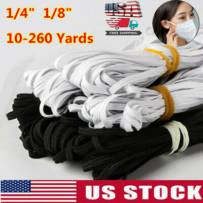 260 Yards Length DIY Braided Elastic Band Cord Knit Band Sewing 1/8inch White