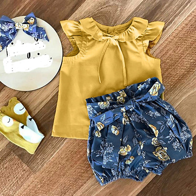 Girls Ruffled Top Shorts Set Plain Color Blouse Printed Floral Summer Bow Pants
