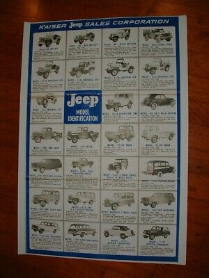 Kaiser Jeep Sales Corporation Model Identification Wall Chart Poster