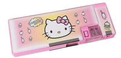 Hello Kitty School Pencil Box Case Two Sided Magnetic with Sharpener Retro PINK