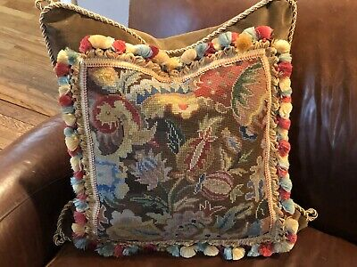 Antique Needlepoint Tapestry Woolwork Pillow Abstract Pomegranate Floral