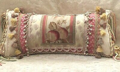 BEAUTIFUL FANCY 19TH c AUTHENTIC AUBUSSON TAPESTRY FRAGMENT LUMBAR PILLOW