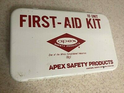 Vintage APEX Industrial First-Aid Kit Wall Hanging Metal Box with handle empty.