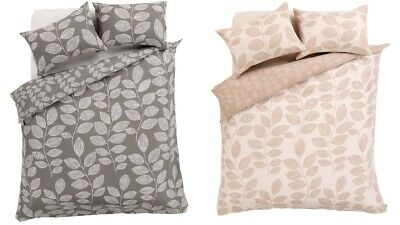 Leaves Natural/Grey Duvet Cover with Pillow Case Full Bedding Set UK size