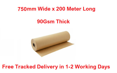 Brown Kraft Paper Roll Parcel Wrapping Roll 750mm X 200 Meter Length 90Gsm Thick