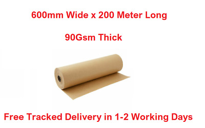 Brown Kraft Paper Roll Parcel Wrapping Roll 600mm X 200 Meter Length 90Gsm Thick