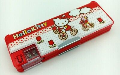 Hello Kitty School Pencil Box Case Two Sided Magnetic w/ Sharpener Retro RED