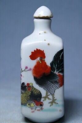 Collectable Ancient Porcelain Painting Chicken Auspicious Precious Snuff Bottles